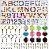 Apsung - Moldes de silicona de resina con letras y números de fundición, incluye lentejuelas con purpurina, llaveros, alfiler