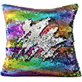 """Mermaid Pillow Case, Play Tailor Magic Reversible Sequin Pillow Cover Throw Cushion Case 16""""X16""""(Rainbow Wave-Silver)"""