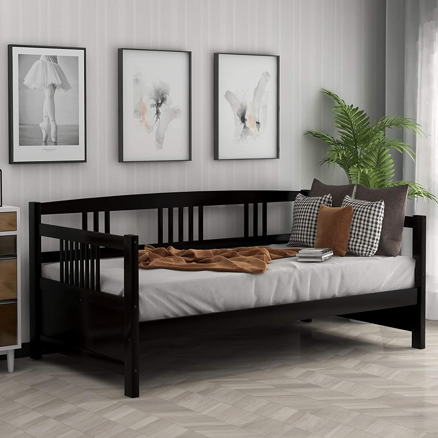 Solid Wood Daybed Frame Twin Size, Multifunctional Daybed, Three-Sided Guard Rail, Bedroom or Living Room Furniture, Wooden Slats Support, Space Saving (Retro Espresso)