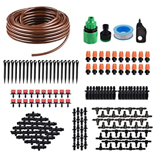 KORAM IR-D 50 Feet Blank Distribution Tubing Hose Plant Watering Irrigation Drip Kit Accessories Include Atomizing Nozzle Mister Dripper, 1/4-Inch