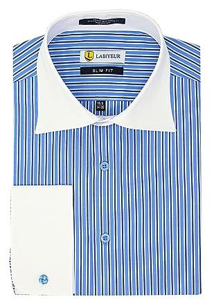 c0b1fbeccbda Labiyeur Men's Slim Fit French Cuff Striped Dress Shirt 14.5 | 32-33 Double  Blue