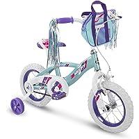 Huffy Glimmer Bicicleta para niñas de 12, 14, 16, 18 Pulgadas con Streamers, Ruedas de Entrenamiento y Cesta para manubrio