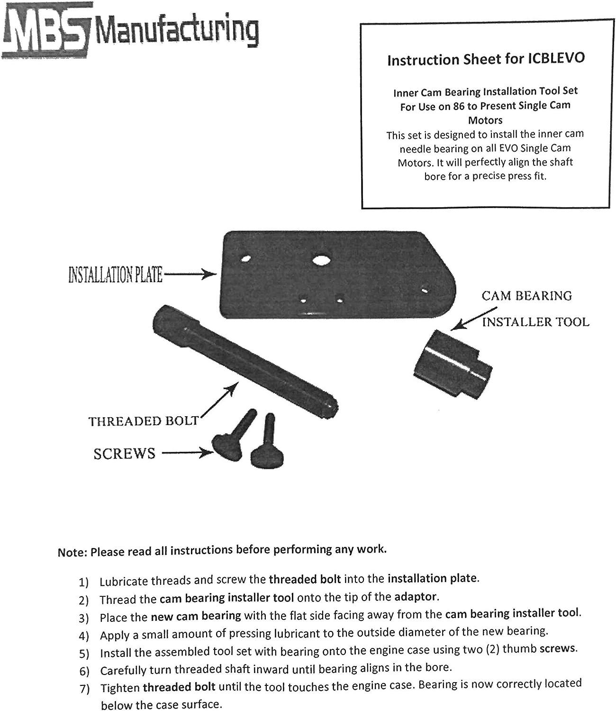 Harley Davidson Evolution Inner Cam Bearing Installer /& Puller EVO