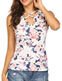 Mofavor Women's Sleeveless Floral Print Casual Lace Up Cami Tank Tops