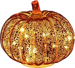 Romingo Mercury Glass Pumpkin Light with Timer for Halloween Pumpkin Decorations Fall and Thanksgiving Decor,Gold, 5.5 inches