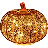 Romingo Mercury Glass Pumpkin Light with Timer for Halloween Pumpkin Decorations Fall Decor,Gold, 5.5 inches