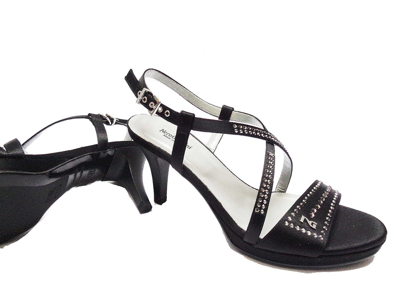 Donna Nero Giardini sandali da da da in raso col. con strass tacco cm.plateau cm. num. 4c957e