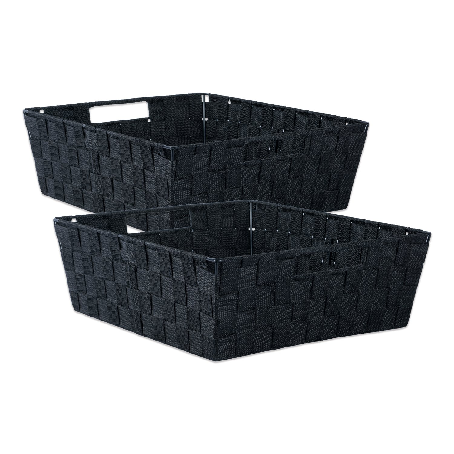 DII Durable Trapezoid Woven Nylon Storage Bin or Basket for Organizing Your Home, Office, or Closets (Tray - 13x15x5'') Black - Set of 2