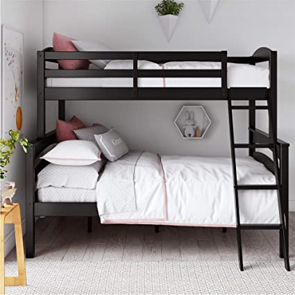 Dorel Living Brady Solid Wood Bunk Beds Twin Over Full With Ladder And Guard Rail Black