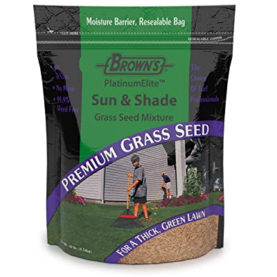 F.M. Brown's PlatinumElite Sun and Shade Grass Seed Mixture - 99.9 Percent Weed Free, Fast-Growing Perennial Seeds for Beautiful Lawns - 10lb : Garden & Outdoor