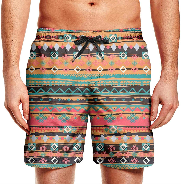 Lfeeinuj Boho Ikat Men Boardshorts Knee Length Swimsuits