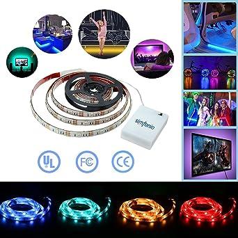 Simfonio Tiras Led 1m 30 Leds IP65 Impermeable 5050 SMD RGB Tira LED Kit Completo con Mando a Distancia 24 Teclas y Bateršªa Carcasa: Amazon.es: Iluminación