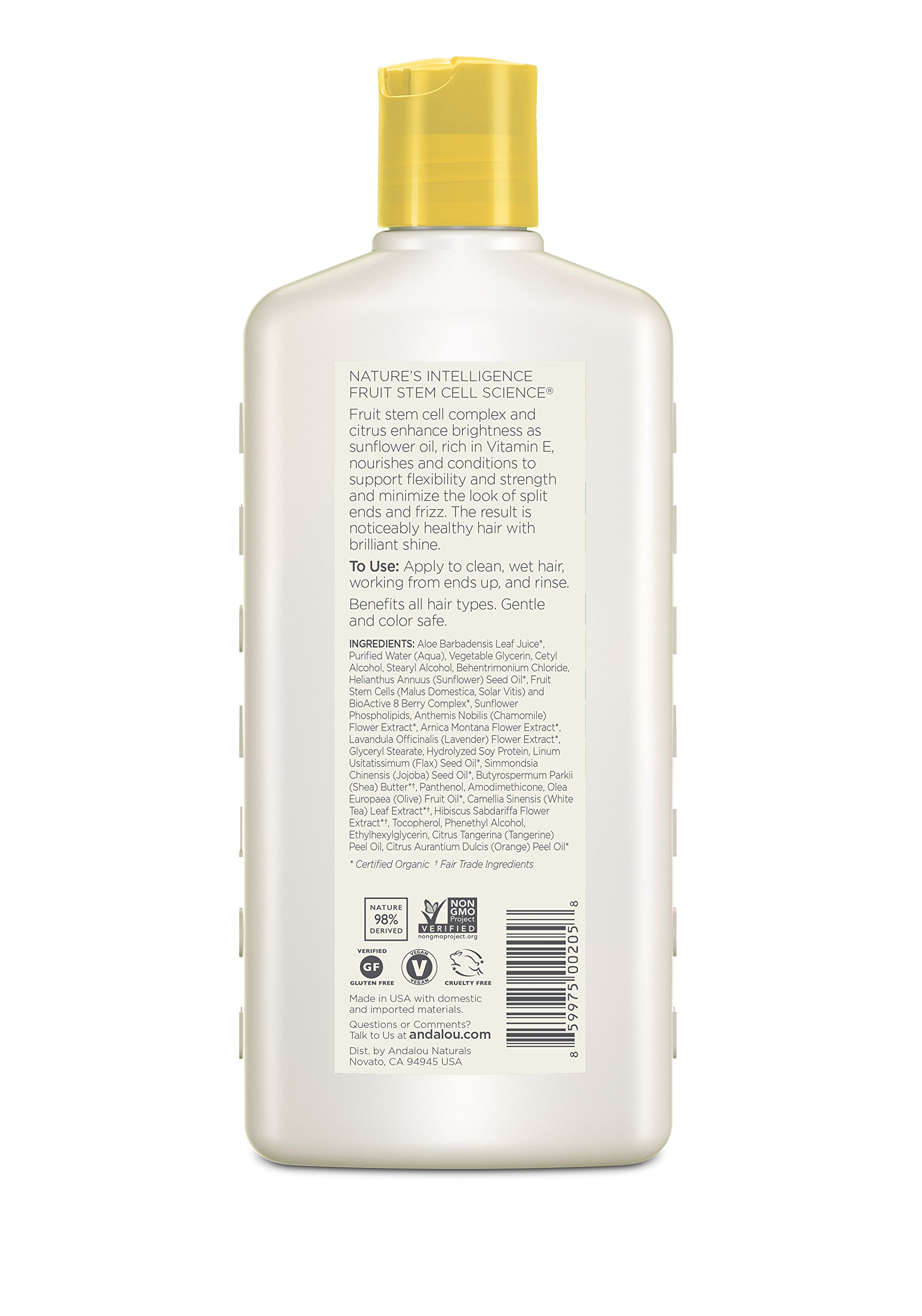 Andalou Naturals Sunflower & Citrus Brilliant Shine Conditioner, 11.5 oz, Helps Give Hair Smooth Shine & De-Frizz Split Ends by Andalou Naturals (Image #2)