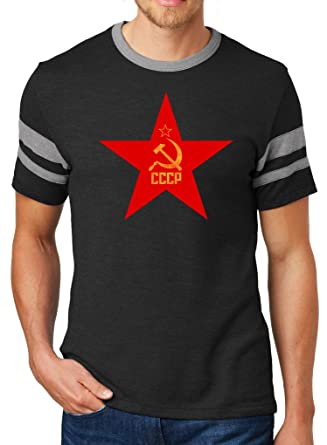 02562a601 Mens CCCP RED Star Sideline Vintage Shirt (Pocket Print), Extra Small Black/