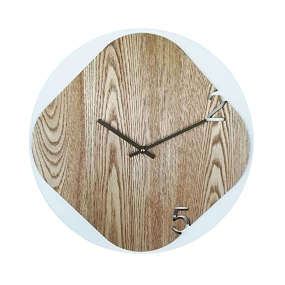 Rebecca Mobili Reloj Decoracion Madera Estilo Nordico Analogico Salon Dormitorio - Ø 40 cm x P 5 cm (A x AN x FON) - Art. RE6241: Amazon.es: Hogar