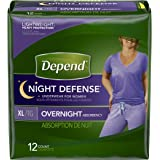 Depend Night Defense Incontinence Overnight Underwear for Women, XL, 12Count, Packaging May Vary