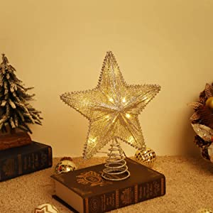 Lewondr Star Tree Topper, Battery Powered Decorative Light Christmas Concepts Springy Star with LED Lights Beautiful Star Lighting Holiday Decoration Xmas Tradition Tree Ornament Home Décor - Gold