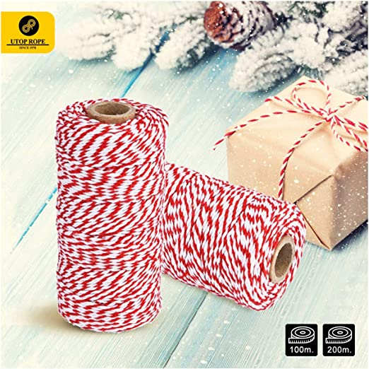 20 Metres Bakers Twine Yellow And White 2mm 2 ply Cotton Twine Gift Wrapping