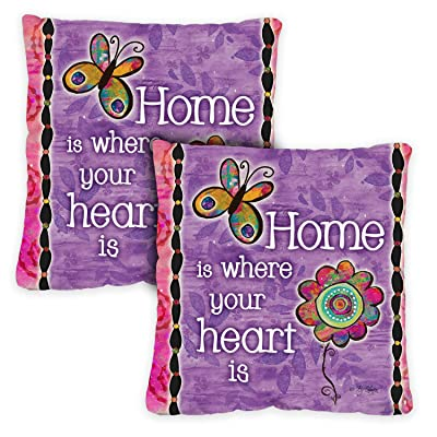 Toland Home Garden 761205 Home is Where Your Heart is 18 x 18 Inch Indoor/Outdoor, Pillow Case (2-Pack) : Garden & Outdoor