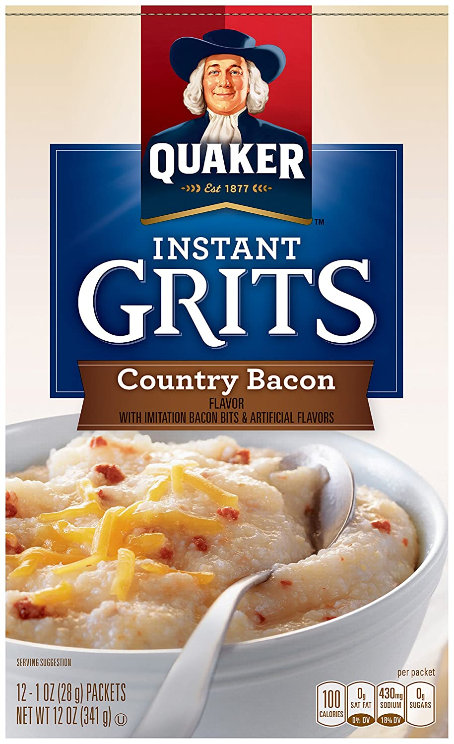 Quaker Instant Grits, Country Bacon Flavor, 12 Packets Per Box (Pack of 12 Boxes)