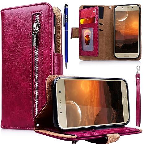 Yokata Kompatibel mit Hülle Samsung Galaxy A5 2017 Handyhülle Schutzhülle Leder PU Wallet Lederhülle Klapphülle Kartenfach St