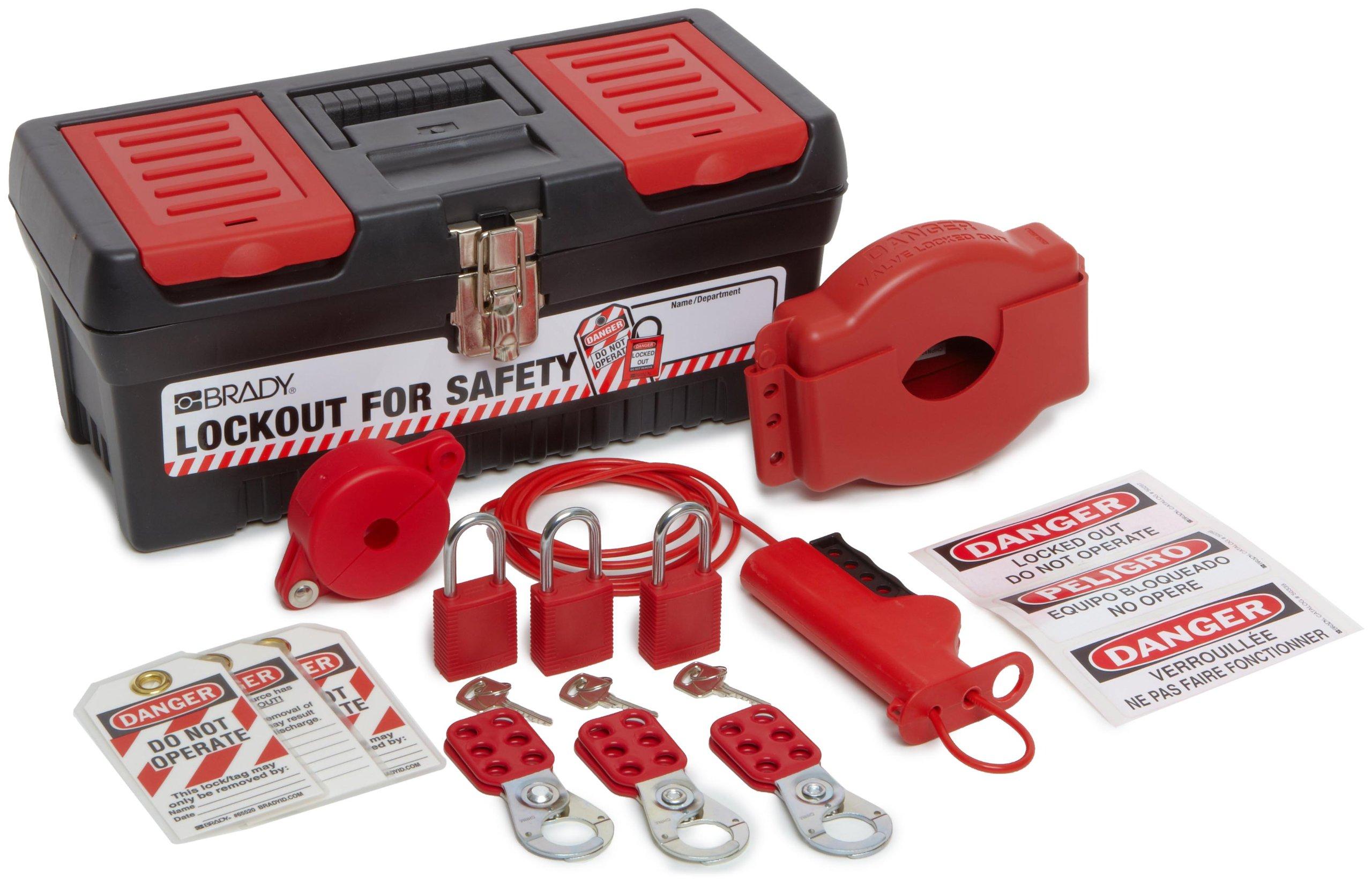 Brady Personal Valve Lockout Kit, Includes 3 Safety Padlocks