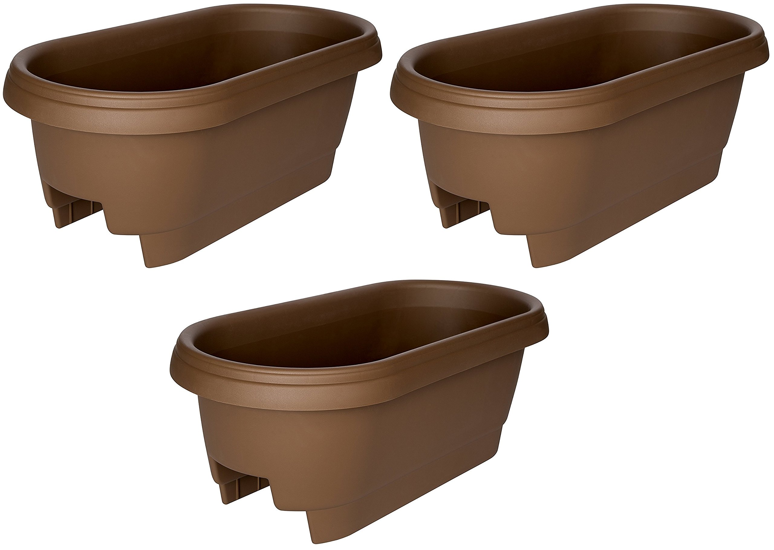 Bloem Deck Balcony Rail Planter, 24'', Chocolate (477245-1001) (3-pack) by Bloem