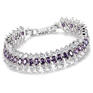 Comtex Ladies Bracelet Cubic Zirconia Crystals Tennis Bracelet for Women Fashion Bracelet Elegance Diamond Sparkle u39ze4aT