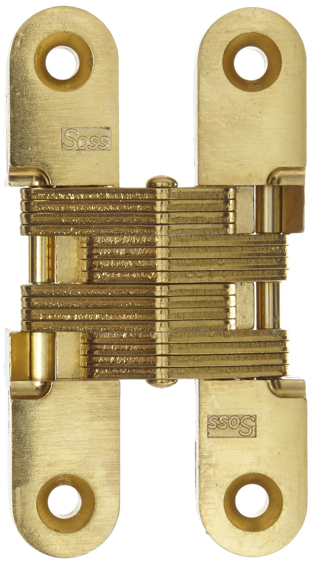 SOSS Mortise Mount Invisible Hinge with 4 Holes, Zinc, Satin Brass Finish, 3-3/4'' Leaf Height, 3/4'' Leaf Width, 1-5/64'' Leaf Thickness, 10 x 1-1/4'' Screw Size