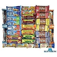 Snack Variety Pack, Healthy Bars Sampler & Care Package in an elegant Blue Ribbon...