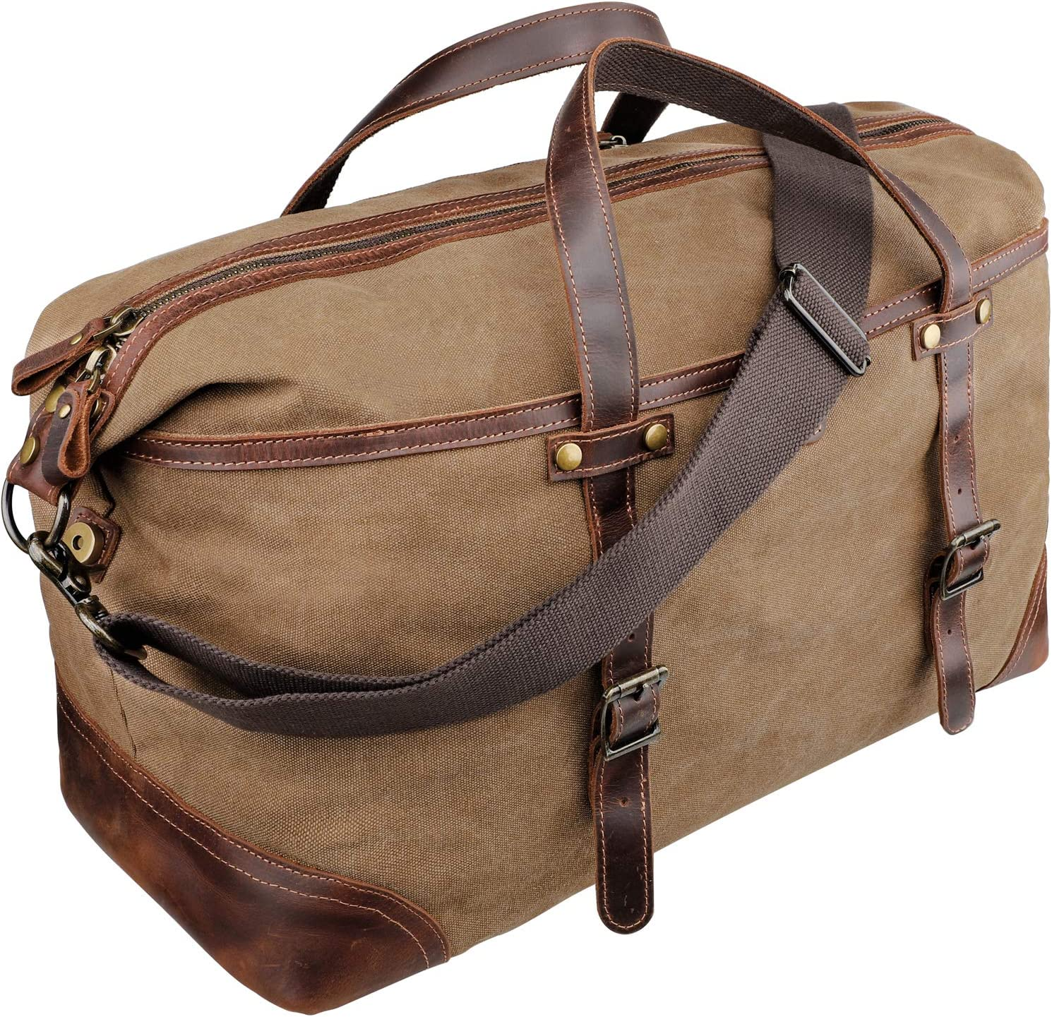 emissary Duffel Bag for Men Mens Carry On Duffel Bag Canvas and Leather Overnight Bag Large Canvas Duffel Bag Men Brown Weekender Bag