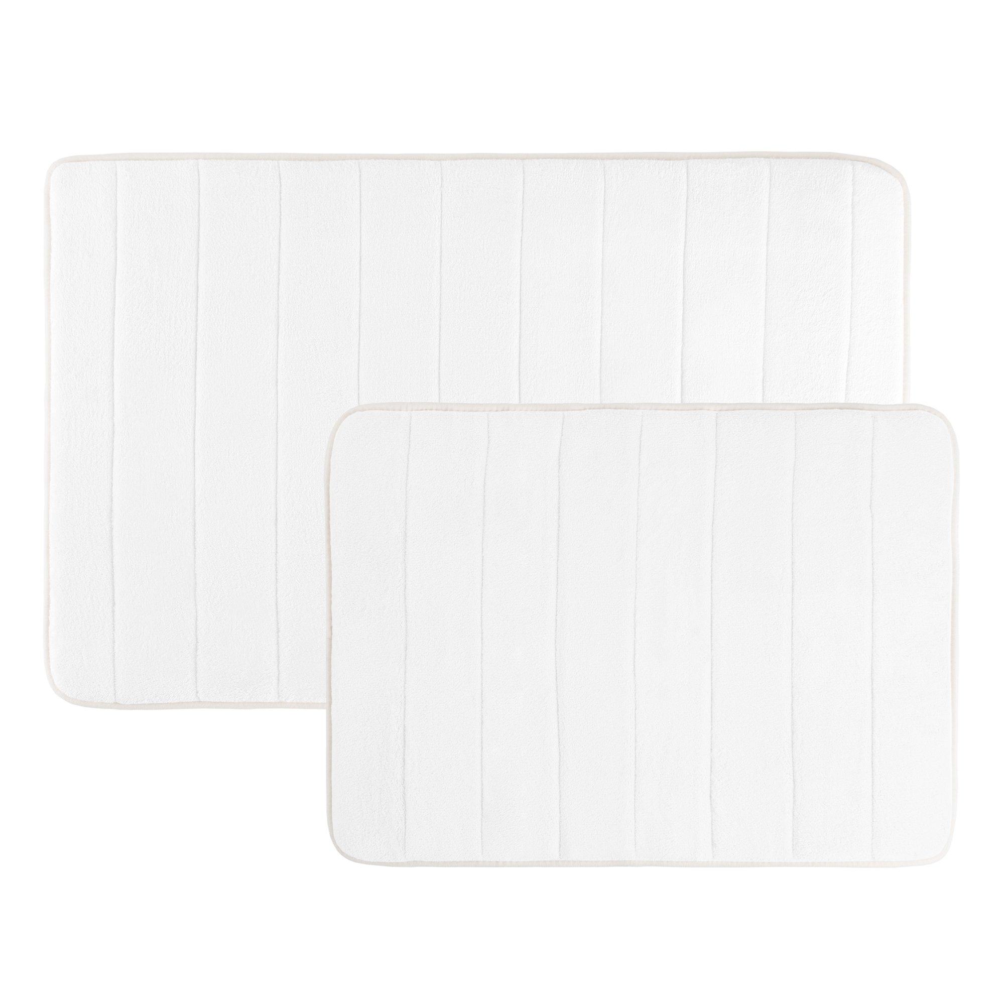 Lavish Home Memory Foam Bath Mats, Non Slip and Fast Dry 2 Piece Bathroom Mat Set- Absorbent Hydro Grip Designed Bath Rug By (White)