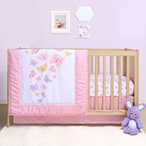 The Peanutshell Butterfly Crib Bedding Set for Baby Girls | 3 Piece Nursery Set | Baby Quilt, Crib Sheet, and Dust Ruffle