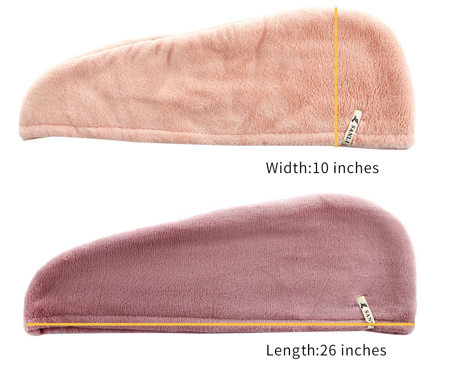 2 Pack Microfiber Hair Twist Towel Double Layer Designed Super Absorbent & Fast Drying Turban Wrap for Women Girls by Sanli (light orange+purple) by Sanli (Image #4)