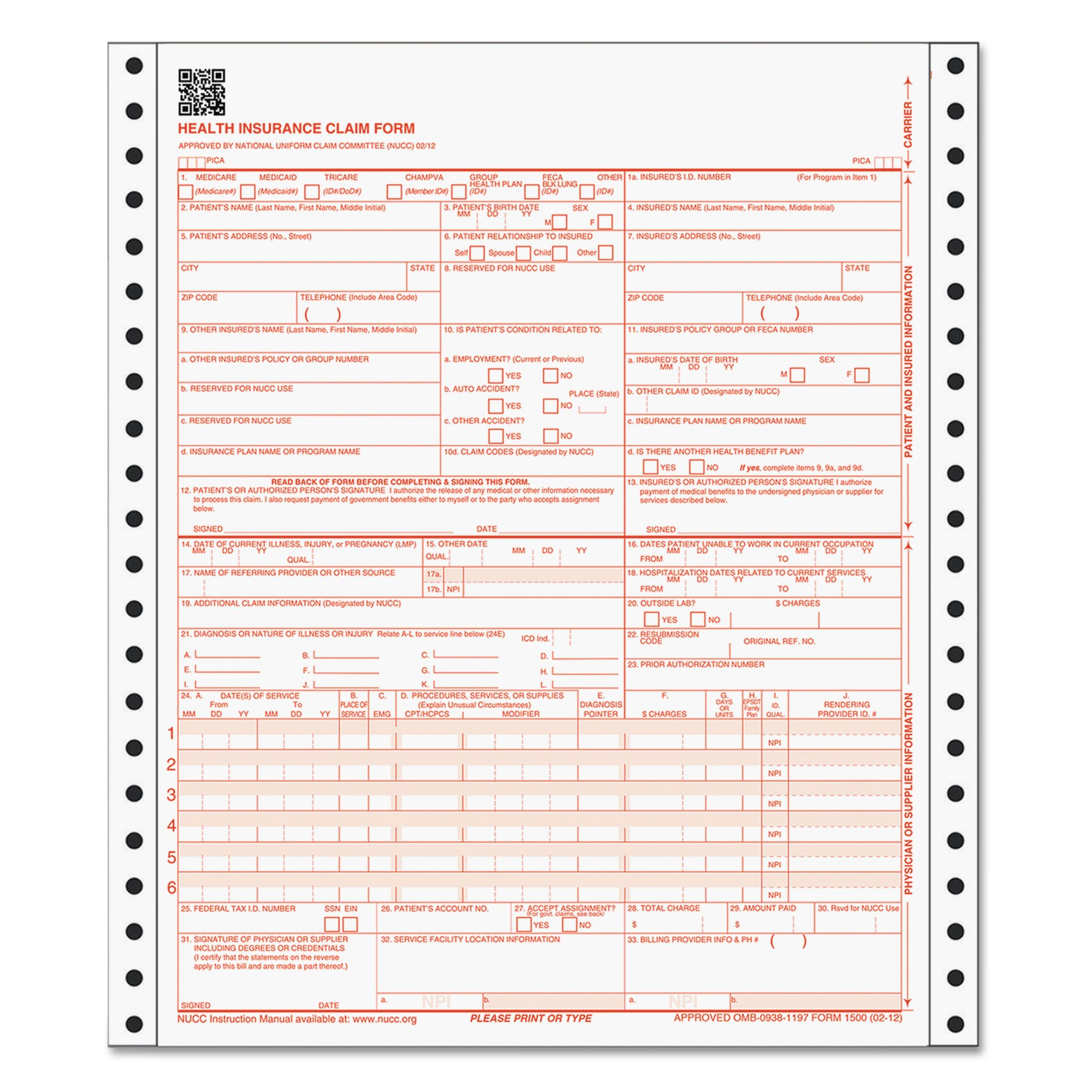 TOPS CMS-1500 Claim Forms Without Sensor Bar, Continuous 1-Part, Red OCR Ink, 3,000 Sheets Per Carton (50122R)