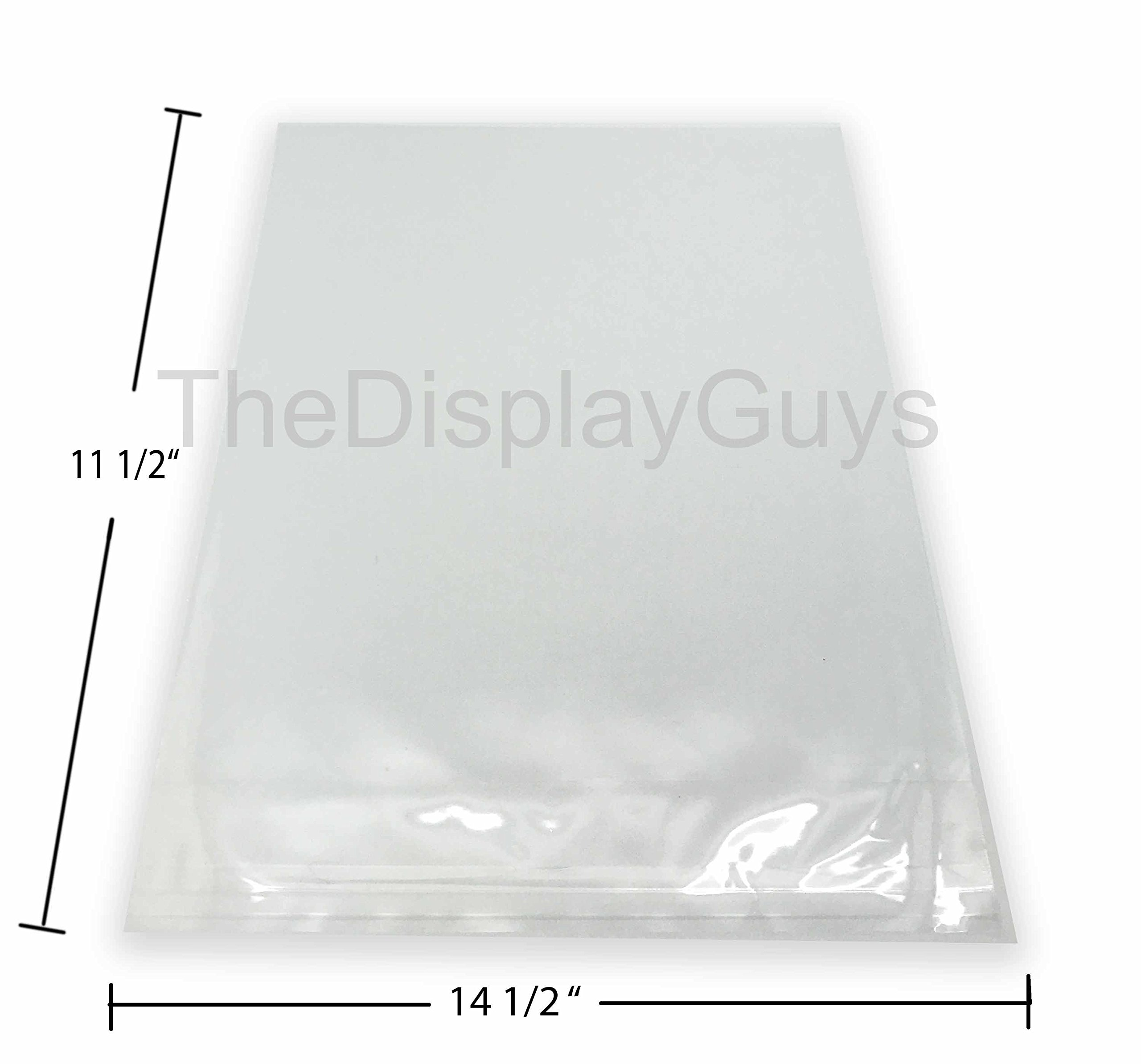 The Display Guys, 100 Pcs Acid-Free 11 1/2 x 14 1/4'' Clear Plastic Bags for 8x10 Art Picture Photo Framing Mats (100pcs Clear 11.5x14.5 inch Plastic Bags)