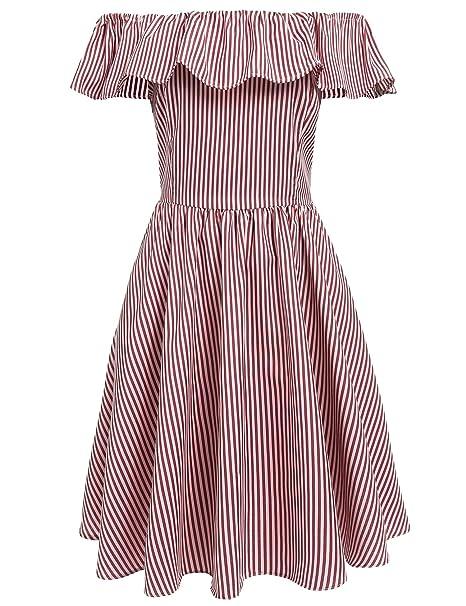 4791eba4349 dozenla Black White Blue White Red White Striped Dress Regular Fit Slash  Neck Backless Dress for