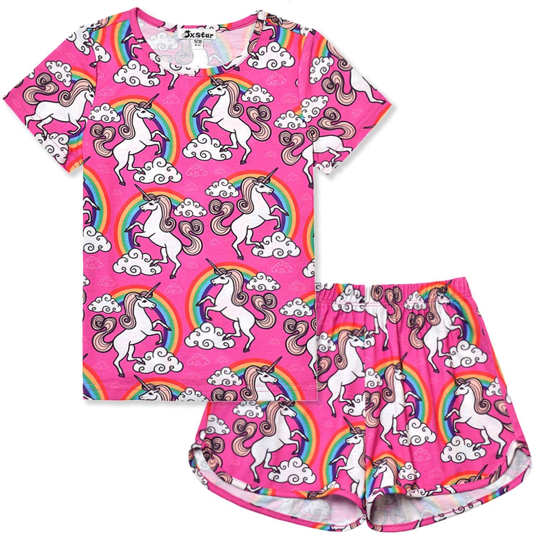 Little Girls Pajamas Set Summer Teen Unicorn American Cotton Short Sleeve Flower