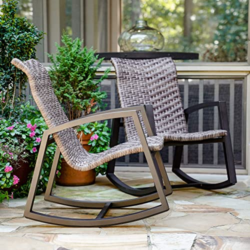 Marion Outdoor Wicker Rocking Chair 2-Pack