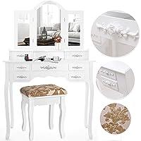 Kesser® Schminktisch luxuriös Weiß Kosmetiktisch Frisierkommode Spiegel Schubladen Hocker | Schminkspiegel | Frisiertisch | Farbe: Weiß