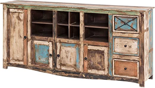 Mobel Ideal Sideboard Vintage Holz Bunt Massiv Bemalt Lackiert Kommode 193 Cm Breit Mango Massivholz Amazon De Kuche Haushalt