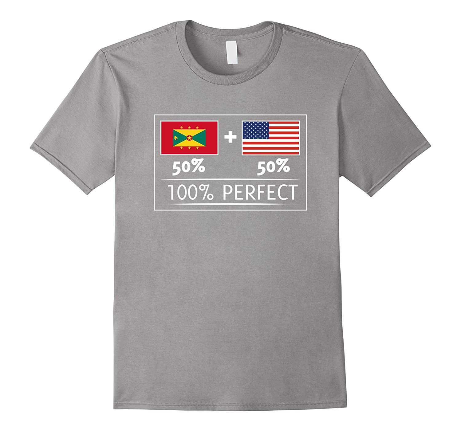 50% GRENADA 50% USA Flags 100% Perfect Tee for Grenadians-T-Shirt