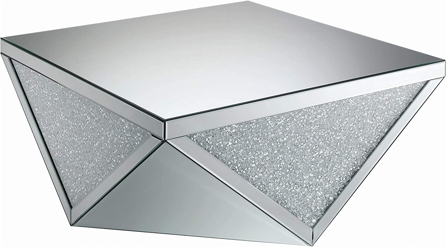 Coaster Home Furnishings Square Triangle Detailing Silver and Clear Mirror Coffee Table, 38.5