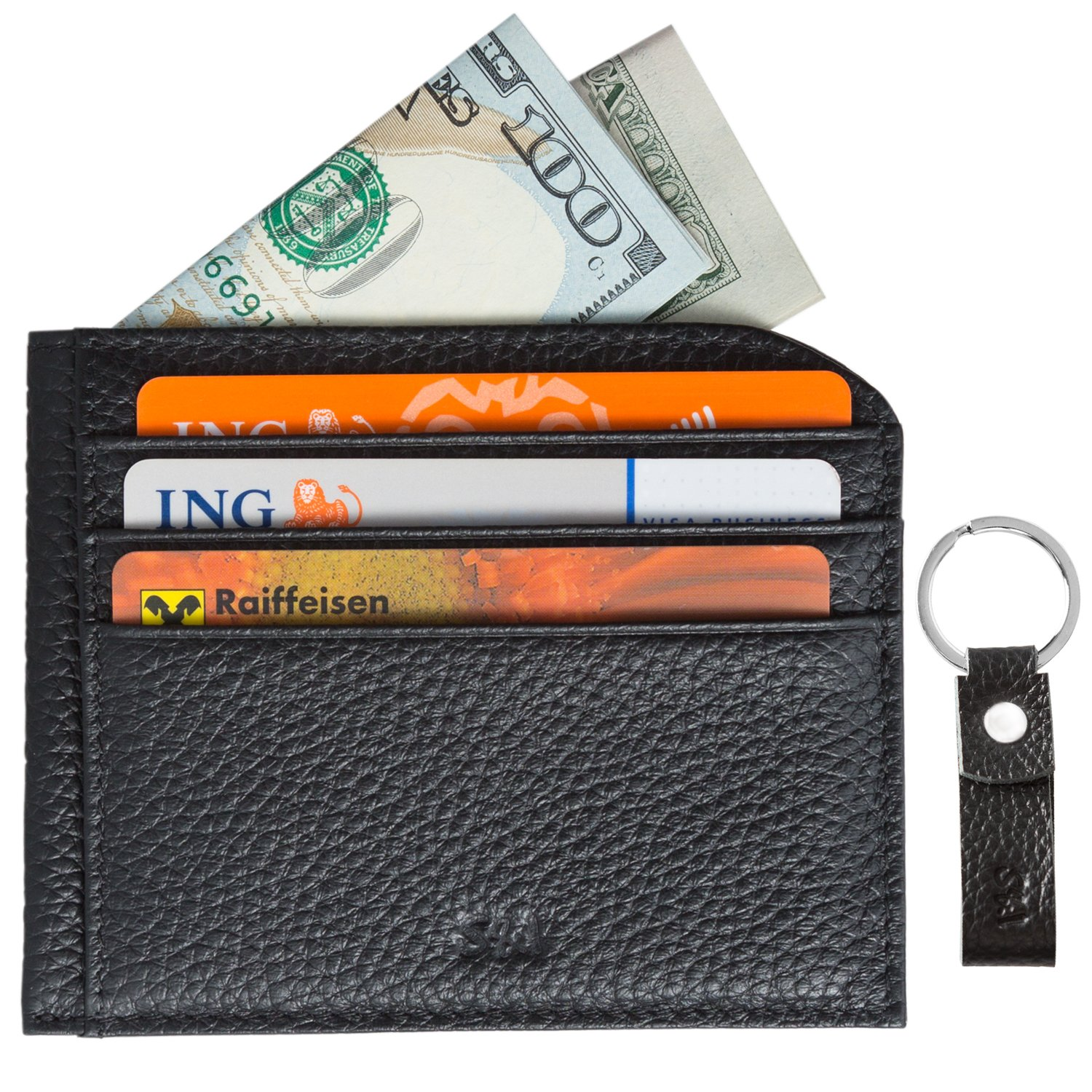 Slim Front Pocket Credit Card Wallet with ID Window and Key-Ring Set – Minimalist Genuine Leather RFID Blocking - by S&I Fine Goods,Black,Small