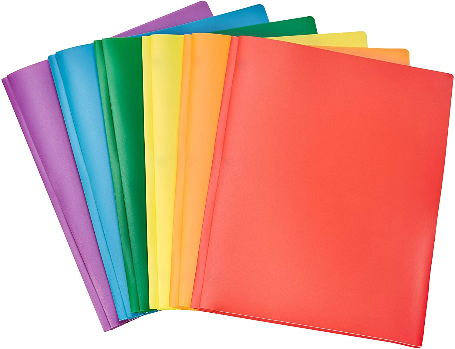AmazonBasics Heavy Duty Plastic Folders with 2 Pockets for Letter Size Paper, Pack of 6