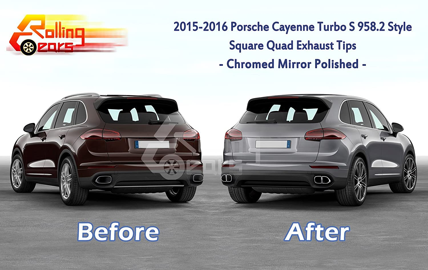 Amazon.com: Turbo-Look Exhaust Muffler Pipes for Cayenne 958.2 V6 Engine 2015-17, Square Quad Style (Chrome): Automotive