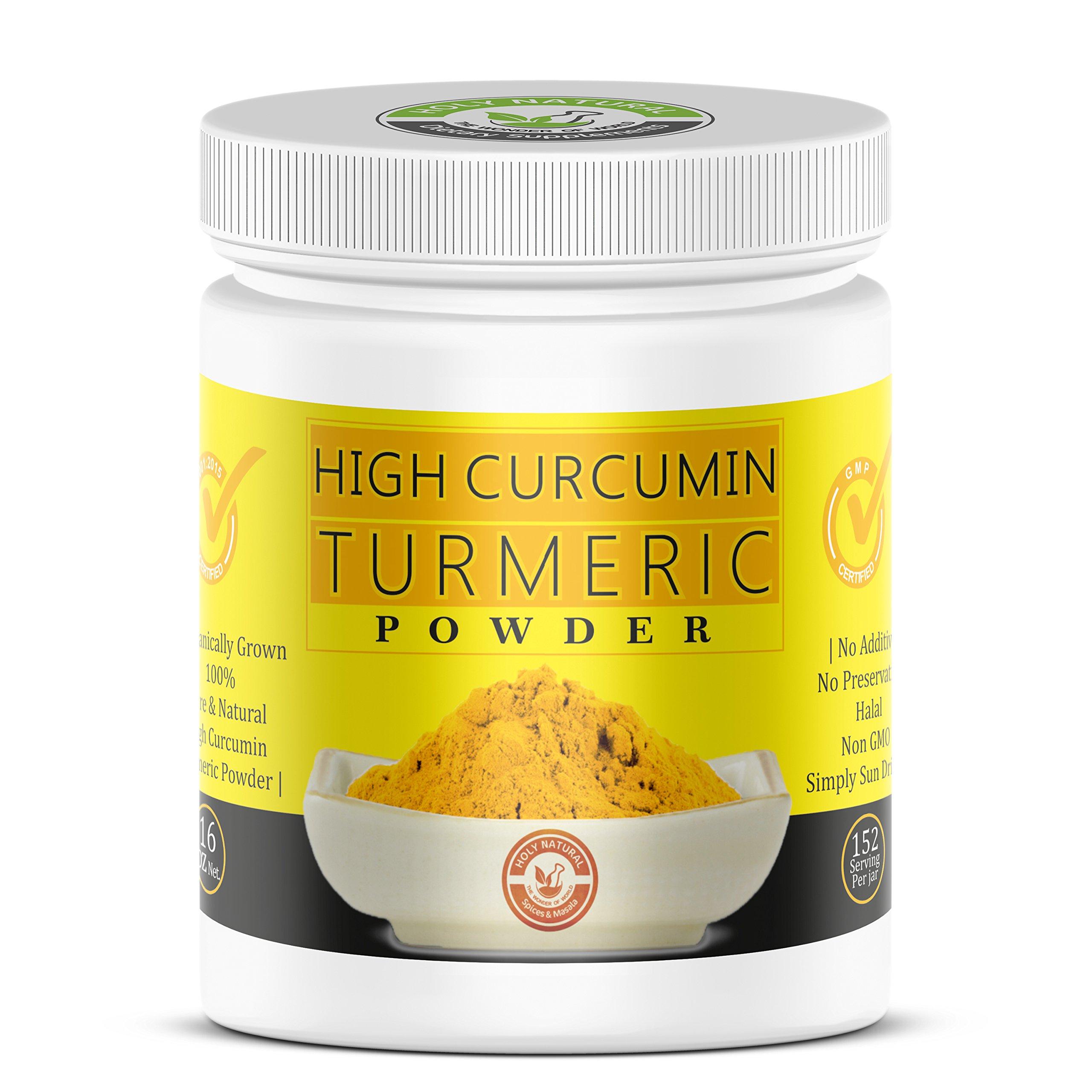 100% Pure & Raw High Curcumin Turmeric Powder (Curcuma Contain 6%) by Holy Natural, Organically Grown-16 Oz