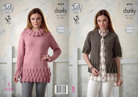 caaca769c2a082 King Cole 4724 Knitting Pattern Womens Raglan Sleeve Tunic and Cardigan in King  Cole Chunky  Amazon.co.uk  Kitchen   Home