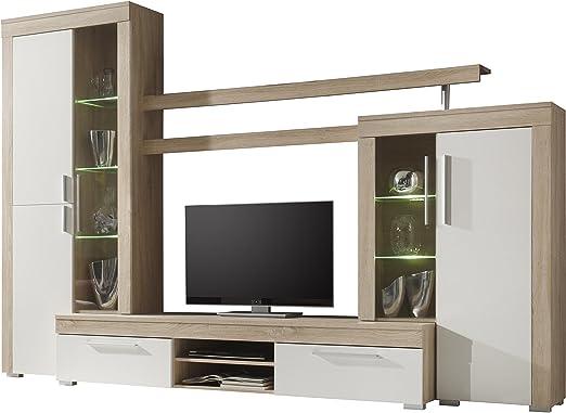 Furnline Salsa TV Stand Wall Unit Living Room Furniture Set White