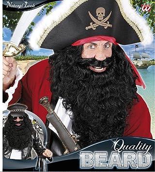 Black Pirate Beard Facial Hair Buccaneer Mens Fancy Dress Costume Accessory